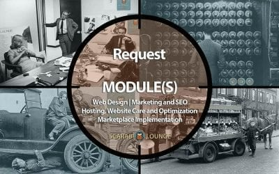 Request Service Modules form, Web Design, Marketing and SEO, Hosting, Website Care and Optimization, and Marketplace Implementation